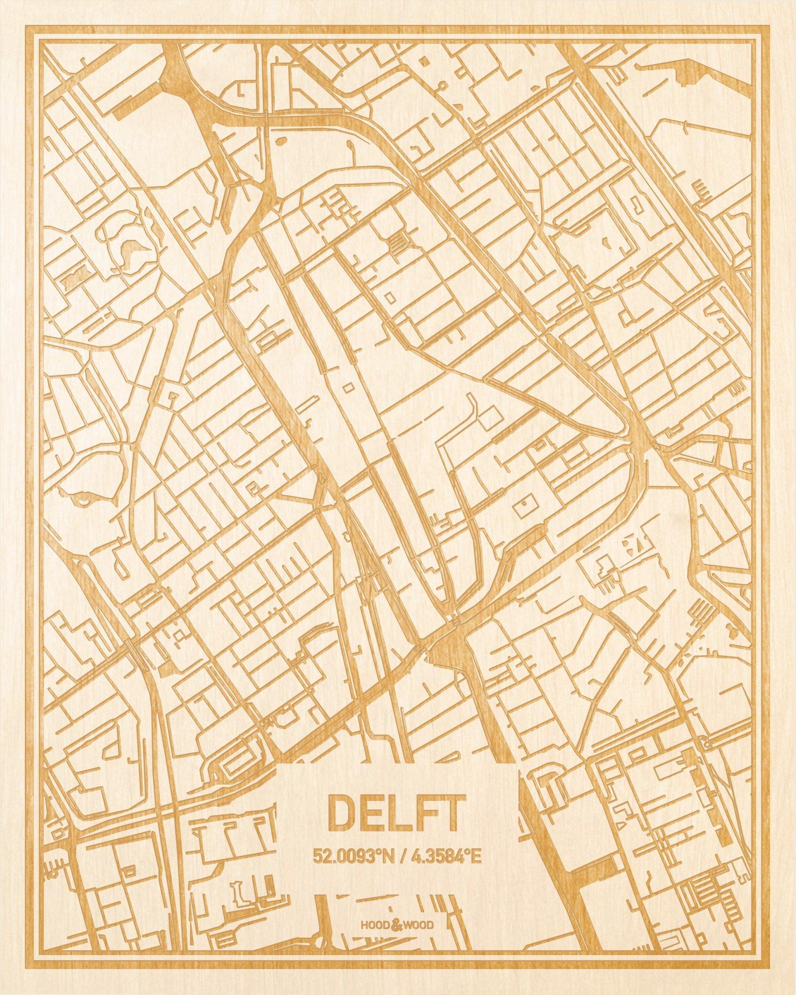 Plattegrond Delft Centrum Hood Wood
