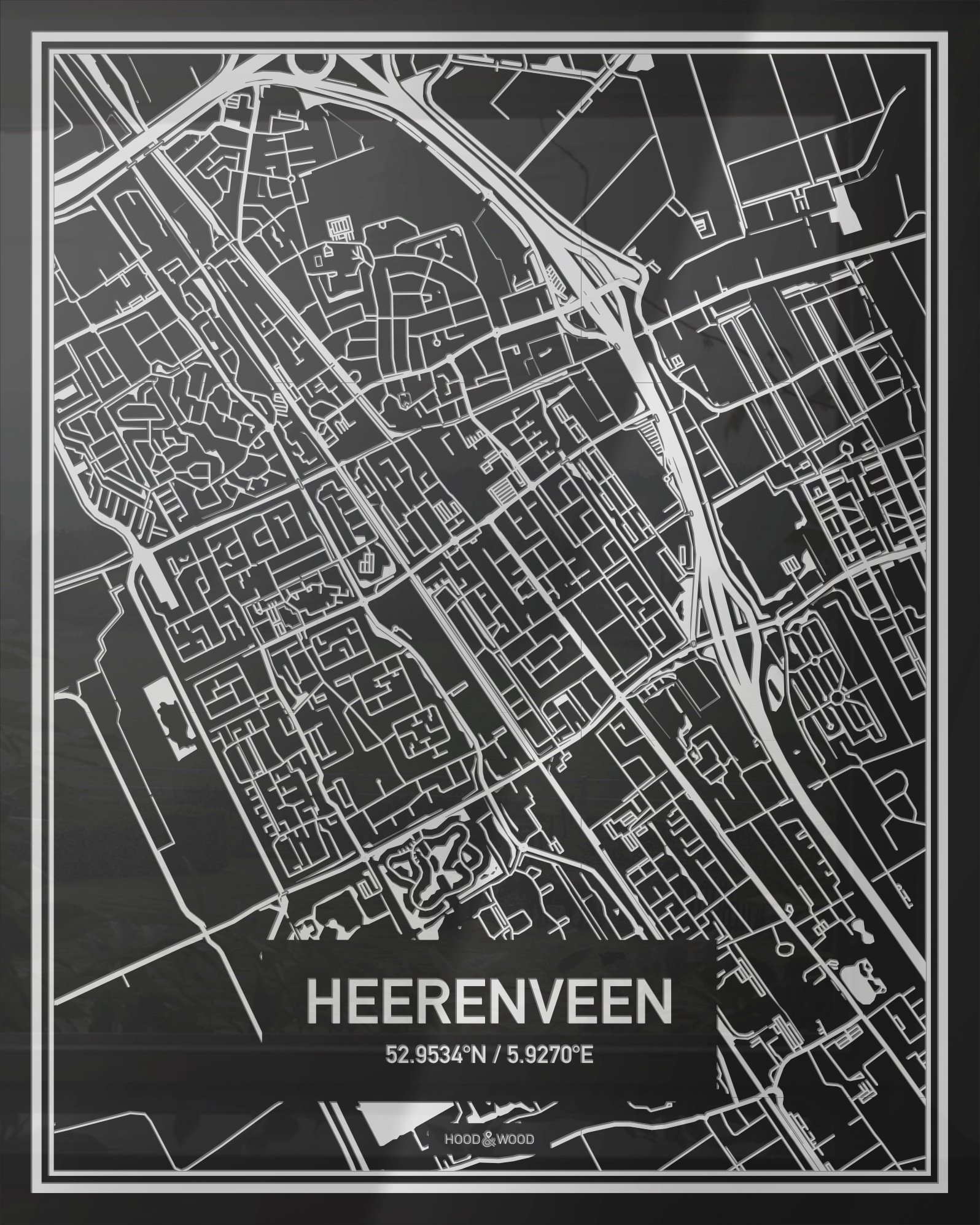 Plattegrond Heerenveen Centrum Hood Wood