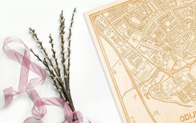 Hier ligt de houten plattegrond Odijk naast een bloemetje als gepersonaliseerd cadeau voor haar.