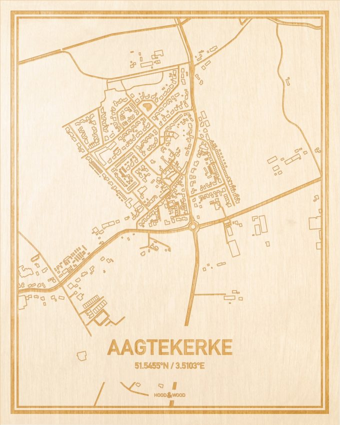 Het wegennet van de plattegrond Aagtekerke gegraveerd in hout. Het resultaat is een prachtige houten kaart van een van de leukste plekken uit Zeeland voor aan je muur als decoratie.