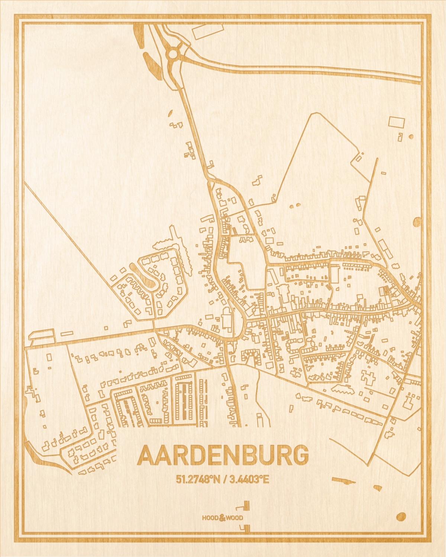 Het wegennet van de plattegrond Aardenburg gegraveerd in hout. Het resultaat is een prachtige houten kaart van een van de gezelligste plekken uit Zeeland voor aan je muur als decoratie.