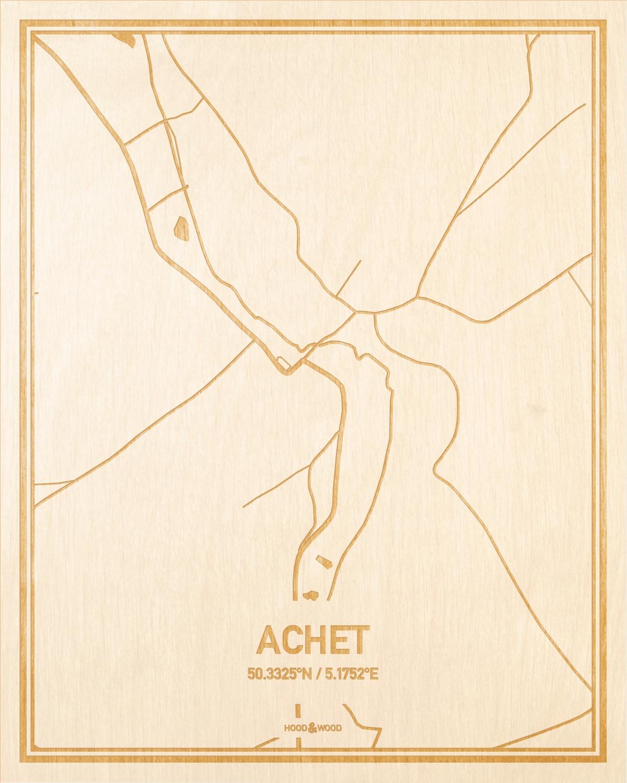 Het wegennet van de plattegrond Achet gegraveerd in hout. Het resultaat is een prachtige houten kaart van een van de charmantse plekken uit Namen voor aan je muur als decoratie.