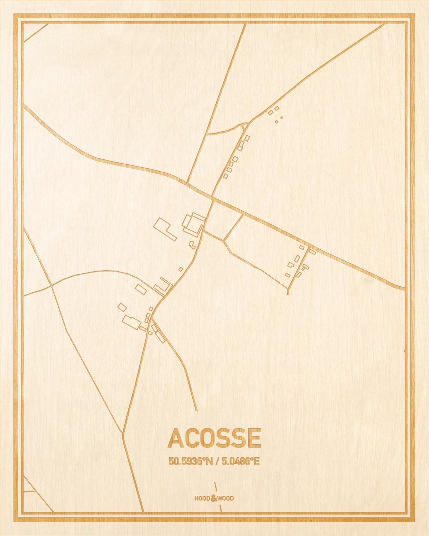 Het wegennet van de plattegrond Acosse gegraveerd in hout. Het resultaat is een prachtige houten kaart van een van de gezelligste plekken uit Luik voor aan je muur als decoratie.