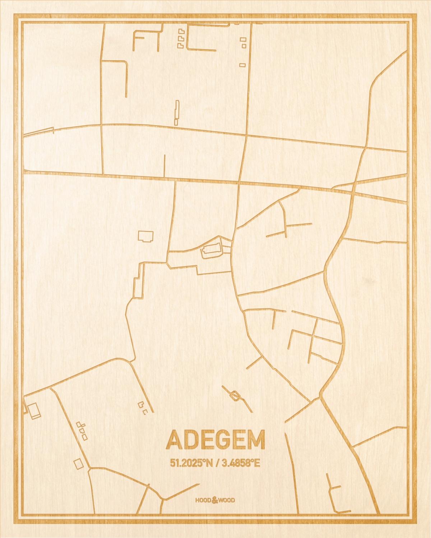 Het wegennet van de plattegrond Adegem gegraveerd in hout. Het resultaat is een prachtige houten kaart van een van de beste plekken uit Oost-Vlaanderen  voor aan je muur als decoratie.
