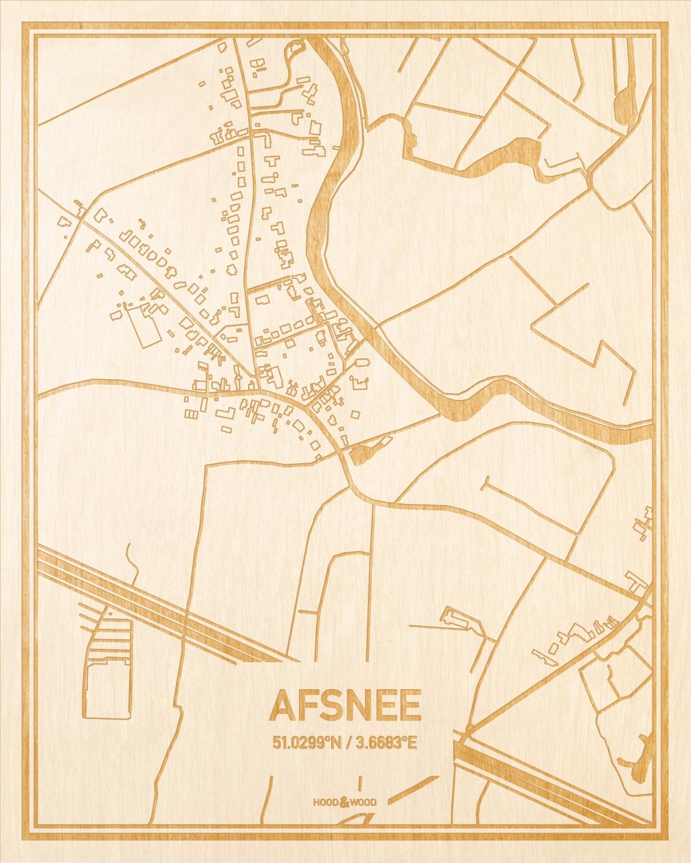 Het wegennet van de plattegrond Afsnee gegraveerd in hout. Het resultaat is een prachtige houten kaart van een van de beste plekken uit Oost-Vlaanderen  voor aan je muur als decoratie.