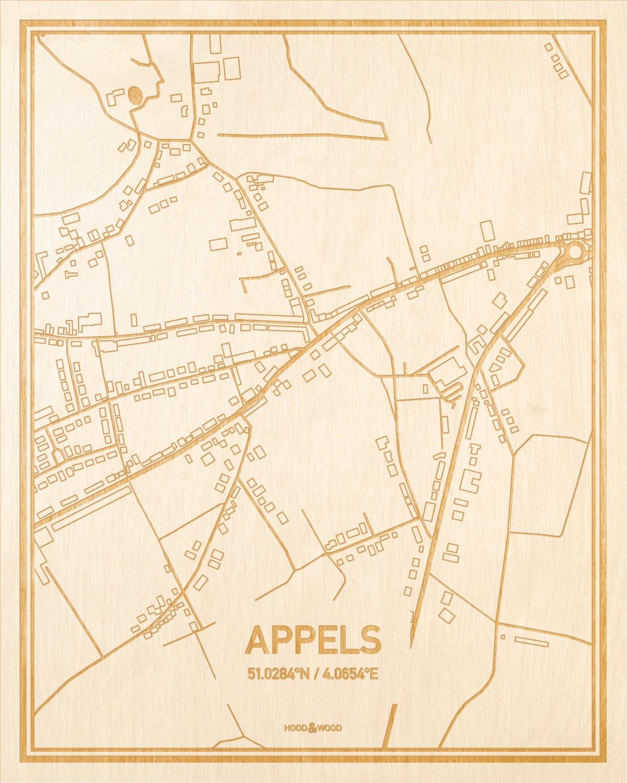 Het wegennet van de plattegrond Appels gegraveerd in hout. Het resultaat is een prachtige houten kaart van een van de charmantse plekken uit Oost-Vlaanderen  voor aan je muur als decoratie.