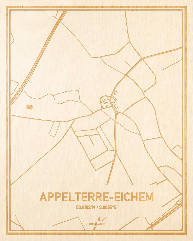 Het wegennet van de plattegrond Appelterre-Eichem gegraveerd in hout. Het resultaat is een prachtige houten kaart van een van de charmantse plekken uit Oost-Vlaanderen  voor aan je muur als decoratie.