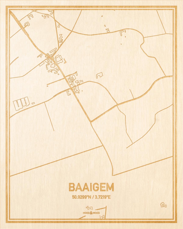 Het wegennet van de plattegrond Baaigem gegraveerd in hout. Het resultaat is een prachtige houten kaart van een van de gezelligste plekken uit Oost-Vlaanderen  voor aan je muur als decoratie.