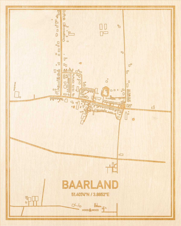 Het wegennet van de plattegrond Baarland gegraveerd in hout. Het resultaat is een prachtige houten kaart van een van de gezelligste plekken uit Zeeland voor aan je muur als decoratie.