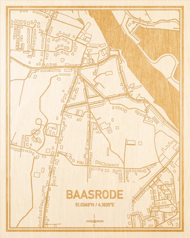 Het wegennet van de plattegrond Baasrode gegraveerd in hout. Het resultaat is een prachtige houten kaart van een van de leukste plekken uit Oost-Vlaanderen  voor aan je muur als decoratie.