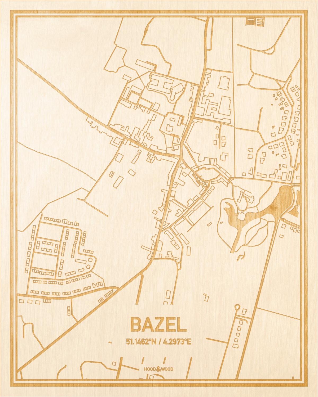 Het wegennet van de plattegrond Bazel gegraveerd in hout. Het resultaat is een prachtige houten kaart van een van de leukste plekken uit Oost-Vlaanderen  voor aan je muur als decoratie.