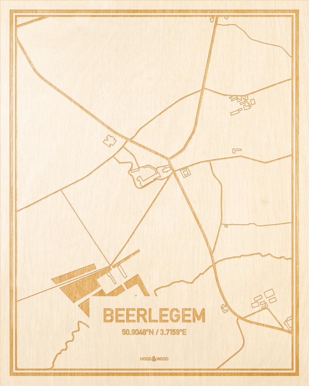 Het wegennet van de plattegrond Beerlegem gegraveerd in hout. Het resultaat is een prachtige houten kaart van een van de charmantse plekken uit Oost-Vlaanderen  voor aan je muur als decoratie.