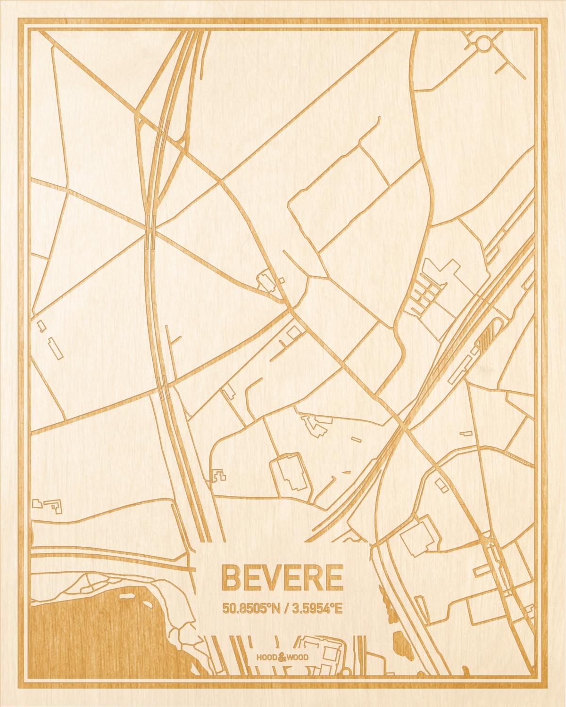 Het wegennet van de plattegrond Bevere gegraveerd in hout. Het resultaat is een prachtige houten kaart van een van de leukste plekken uit Oost-Vlaanderen  voor aan je muur als decoratie.