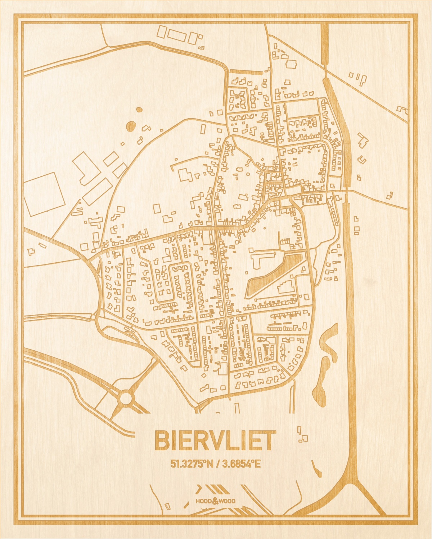 Het wegennet van de plattegrond Biervliet gegraveerd in hout. Het resultaat is een prachtige houten kaart van een van de beste plekken uit Zeeland voor aan je muur als decoratie.