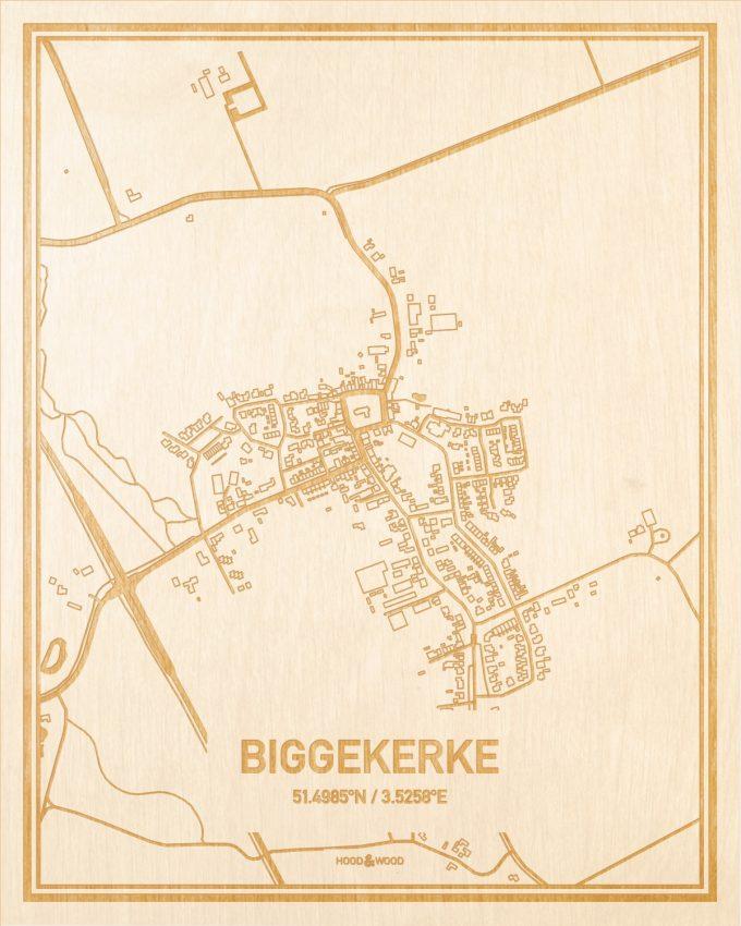 Het wegennet van de plattegrond Biggekerke gegraveerd in hout. Het resultaat is een prachtige houten kaart van een van de charmantse plekken uit Zeeland voor aan je muur als decoratie.