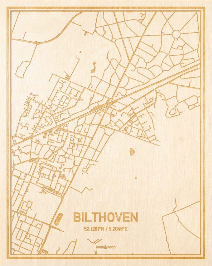 Het wegennet van de plattegrond Bilthoven gegraveerd in hout. Het resultaat is een prachtige houten kaart van een van de gezelligste plekken uit Utrecht voor aan je muur als decoratie.