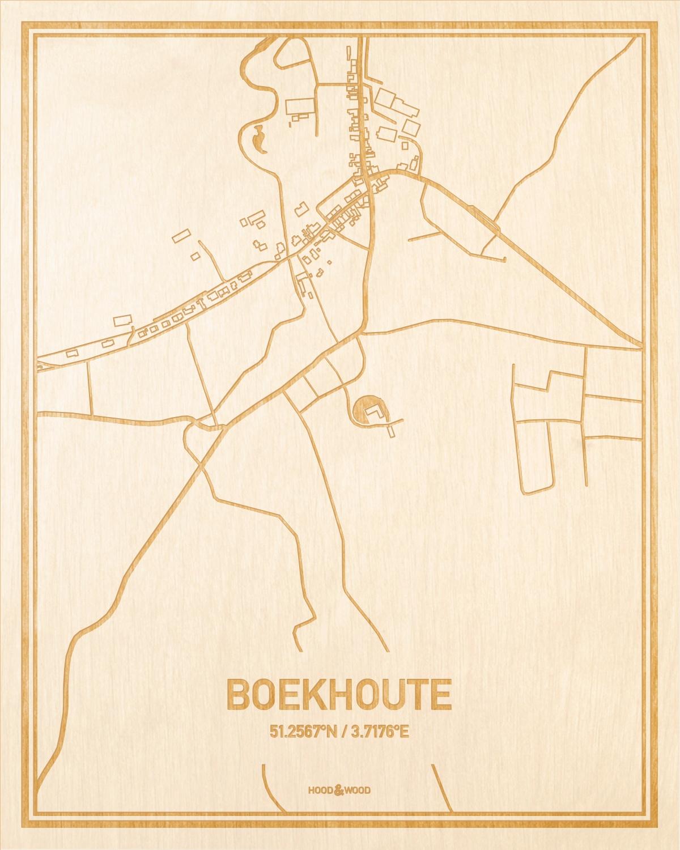 Het wegennet van de plattegrond Boekhoute gegraveerd in hout. Het resultaat is een prachtige houten kaart van een van de leukste plekken uit Oost-Vlaanderen  voor aan je muur als decoratie.