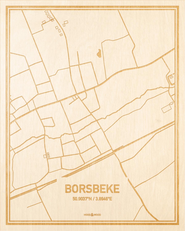 Het wegennet van de plattegrond Borsbeke gegraveerd in hout. Het resultaat is een prachtige houten kaart van een van de gezelligste plekken uit Oost-Vlaanderen  voor aan je muur als decoratie.