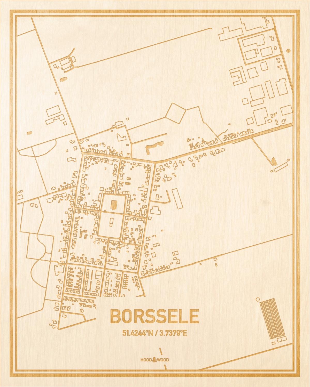 Het wegennet van de plattegrond Borssele gegraveerd in hout. Het resultaat is een prachtige houten kaart van een van de leukste plekken uit Zeeland voor aan je muur als decoratie.