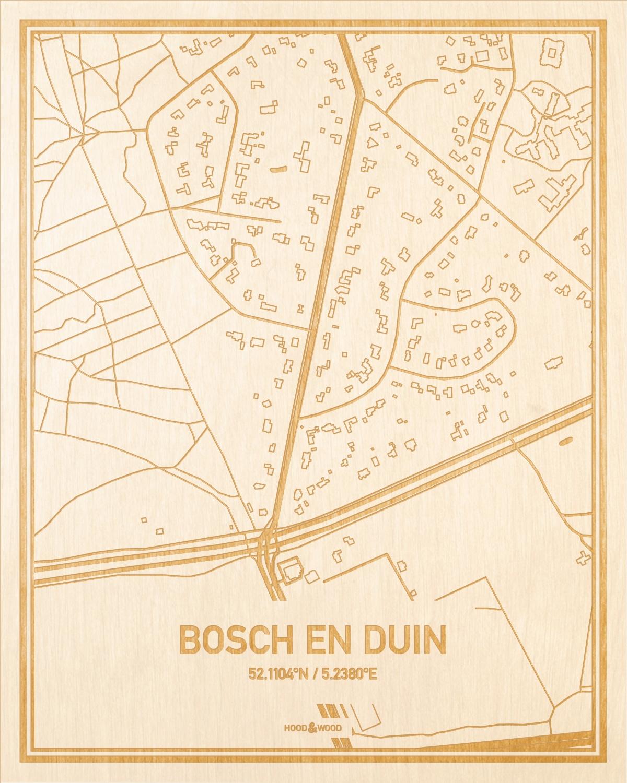 Het wegennet van de plattegrond Bosch en Duin gegraveerd in hout. Het resultaat is een prachtige houten kaart van een van de mooiste plekken uit Utrecht voor aan je muur als decoratie.
