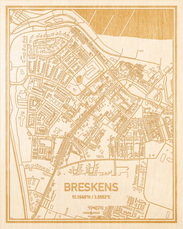 Het wegennet van de plattegrond Breskens gegraveerd in hout. Het resultaat is een prachtige houten kaart van een van de mooiste plekken uit Zeeland voor aan je muur als decoratie.