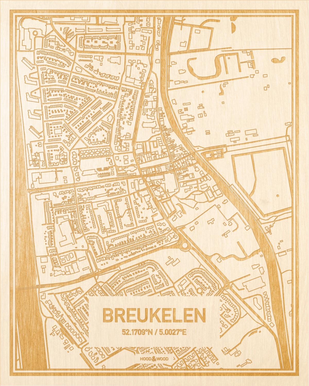 Het wegennet van de plattegrond Breukelen gegraveerd in hout. Het resultaat is een prachtige houten kaart van een van de charmantse plekken uit Utrecht voor aan je muur als decoratie.