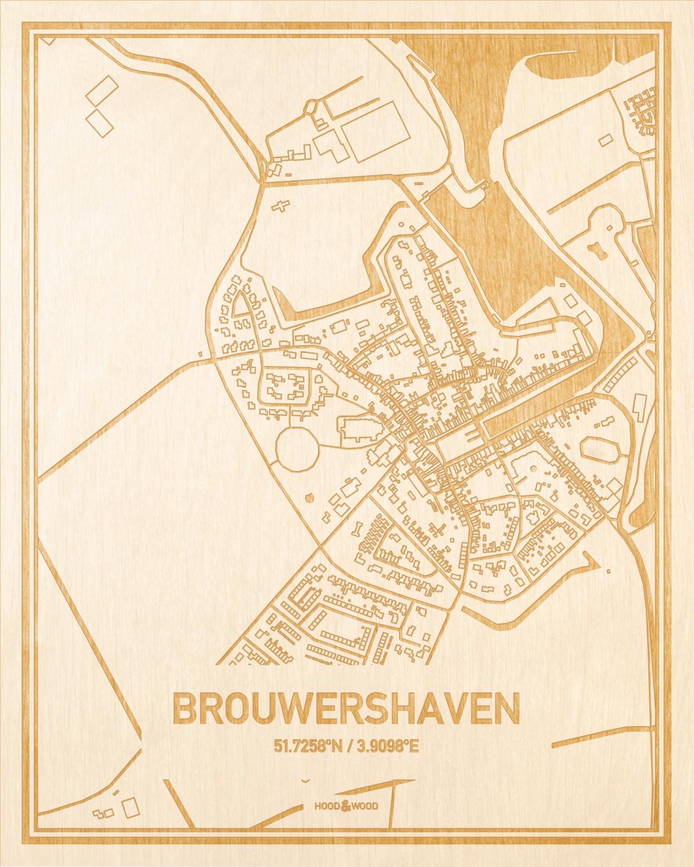 Het wegennet van de plattegrond Brouwershaven gegraveerd in hout. Het resultaat is een prachtige houten kaart van een van de leukste plekken uit Zeeland voor aan je muur als decoratie.