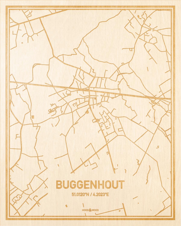Het wegennet van de plattegrond Buggenhout gegraveerd in hout. Het resultaat is een prachtige houten kaart van een van de gezelligste plekken uit Oost-Vlaanderen  voor aan je muur als decoratie.
