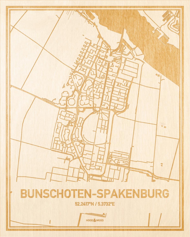 Het wegennet van de plattegrond Bunschoten-Spakenburg gegraveerd in hout. Het resultaat is een prachtige houten kaart van een van de leukste plekken uit Utrecht voor aan je muur als decoratie.
