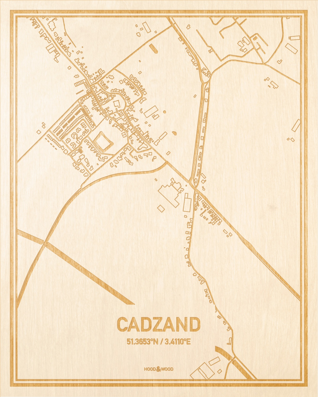Het wegennet van de plattegrond Cadzand gegraveerd in hout. Het resultaat is een prachtige houten kaart van een van de charmantse plekken uit Zeeland voor aan je muur als decoratie.