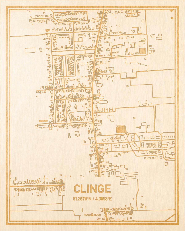Het wegennet van de plattegrond Clinge gegraveerd in hout. Het resultaat is een prachtige houten kaart van een van de gezelligste plekken uit Zeeland voor aan je muur als decoratie.