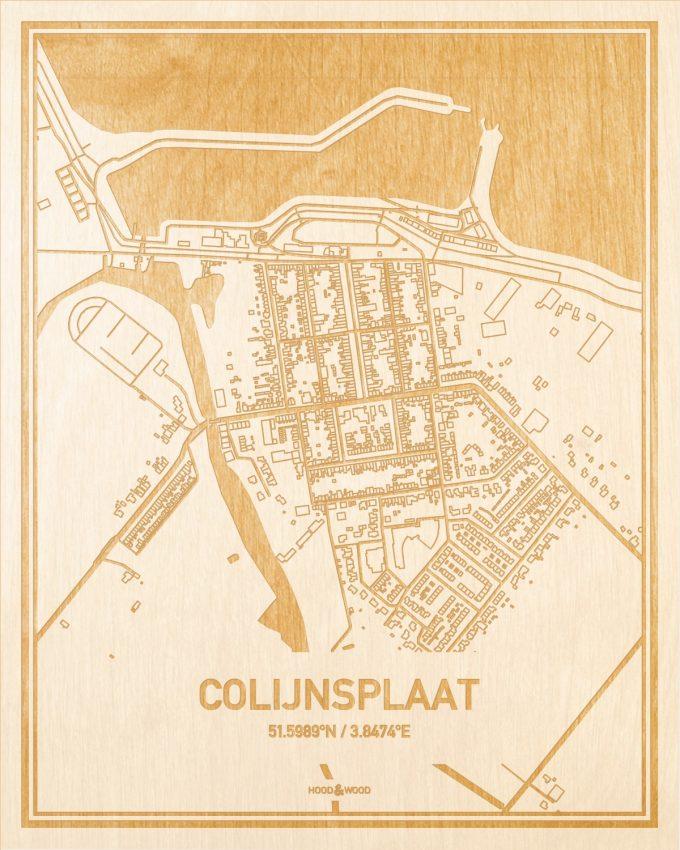 Het wegennet van de plattegrond Colijnsplaat gegraveerd in hout. Het resultaat is een prachtige houten kaart van een van de beste plekken uit Zeeland voor aan je muur als decoratie.