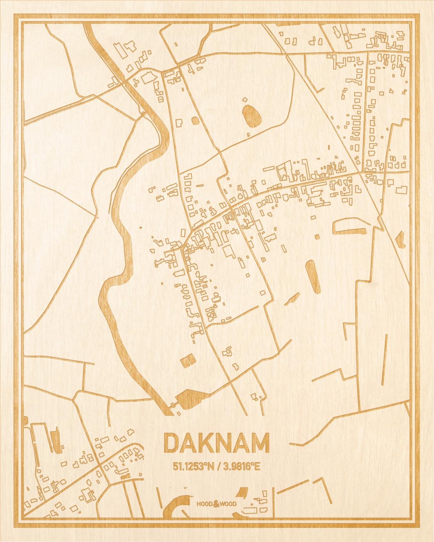 Het wegennet van de plattegrond Daknam gegraveerd in hout. Het resultaat is een prachtige houten kaart van een van de beste plekken uit Oost-Vlaanderen  voor aan je muur als decoratie.