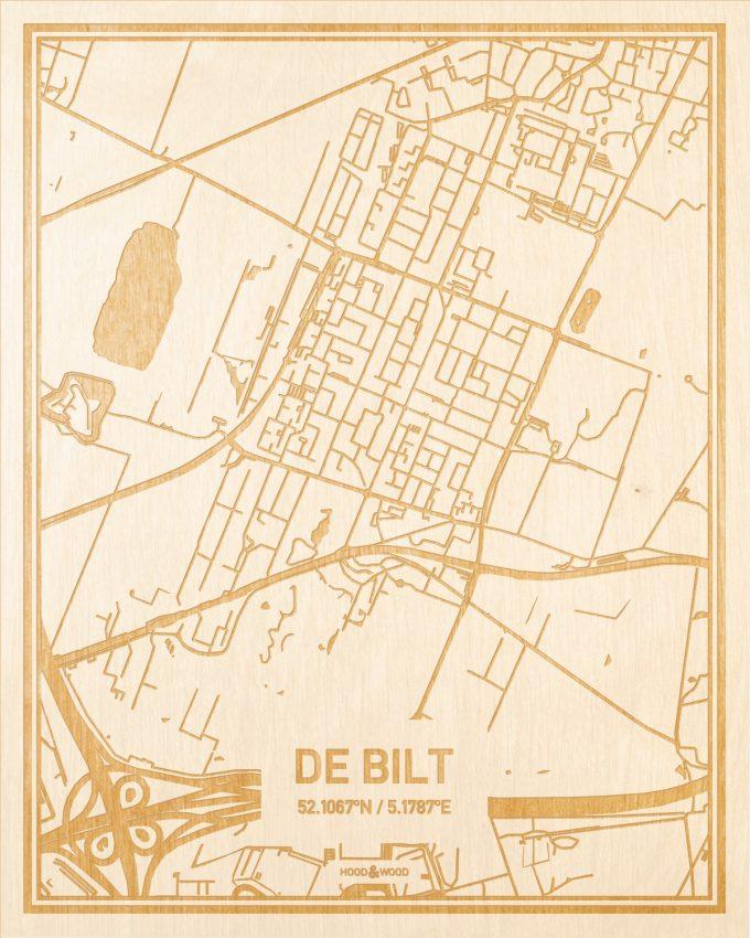 Het wegennet van de plattegrond De Bilt gegraveerd in hout. Het resultaat is een prachtige houten kaart van een van de gezelligste plekken uit Utrecht voor aan je muur als decoratie.