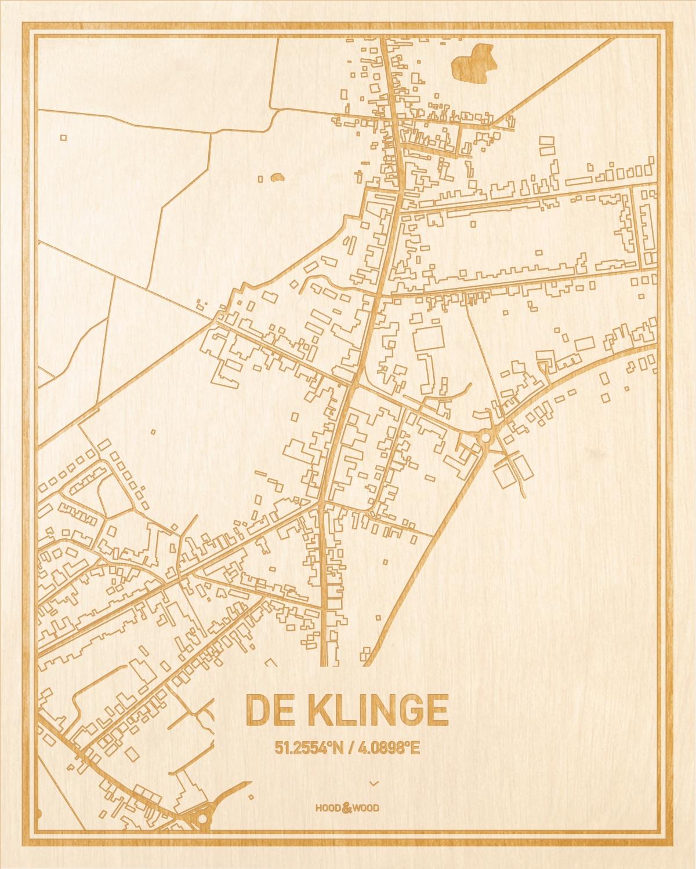 Het wegennet van de plattegrond De Klinge gegraveerd in hout. Het resultaat is een prachtige houten kaart van een van de leukste plekken uit Oost-Vlaanderen  voor aan je muur als decoratie.