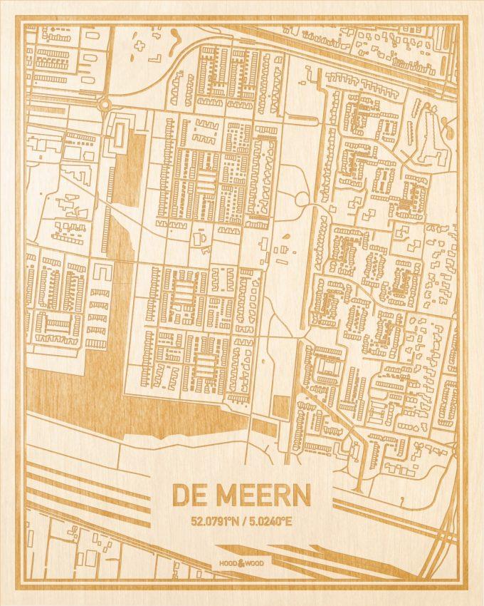 Het wegennet van de plattegrond De Meern gegraveerd in hout. Het resultaat is een prachtige houten kaart van een van de mooiste plekken uit Utrecht voor aan je muur als decoratie.
