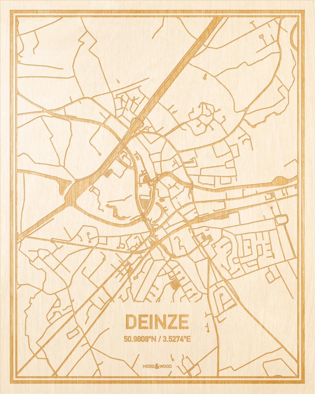 Het wegennet van de plattegrond Deinze gegraveerd in hout. Het resultaat is een prachtige houten kaart van een van de mooiste plekken uit Oost-Vlaanderen  voor aan je muur als decoratie.