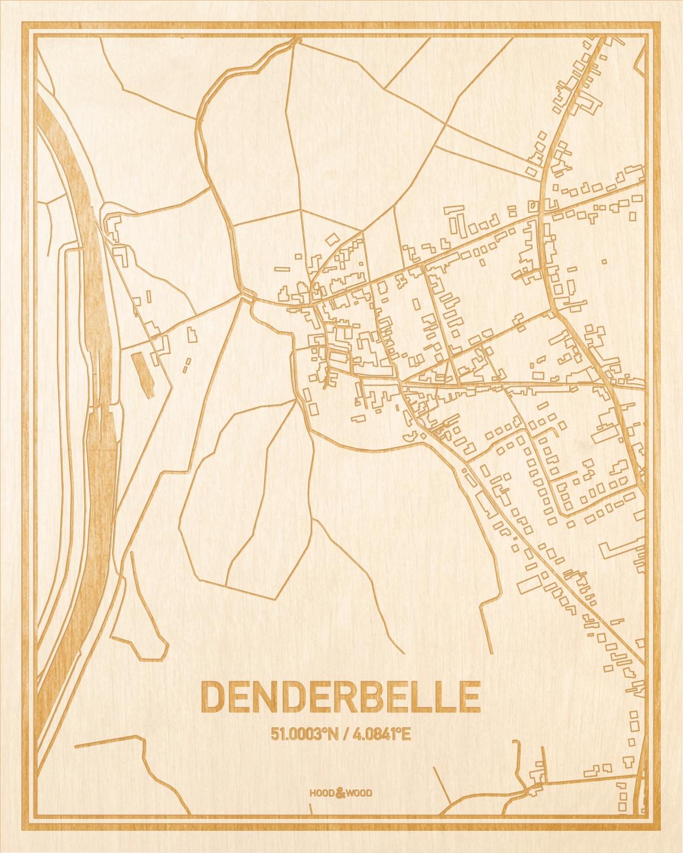 Het wegennet van de plattegrond Denderbelle gegraveerd in hout. Het resultaat is een prachtige houten kaart van een van de beste plekken uit Oost-Vlaanderen  voor aan je muur als decoratie.