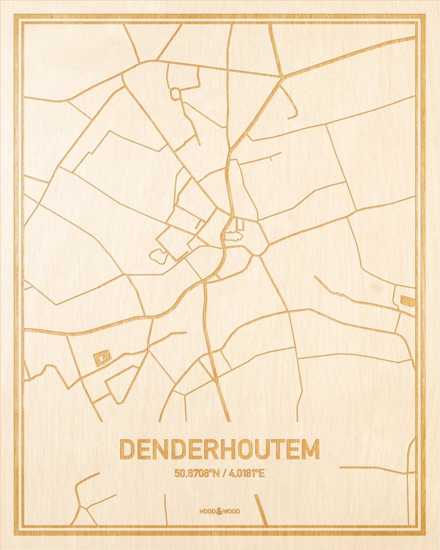 Het wegennet van de plattegrond Denderhoutem gegraveerd in hout. Het resultaat is een prachtige houten kaart van een van de mooiste plekken uit Oost-Vlaanderen  voor aan je muur als decoratie.