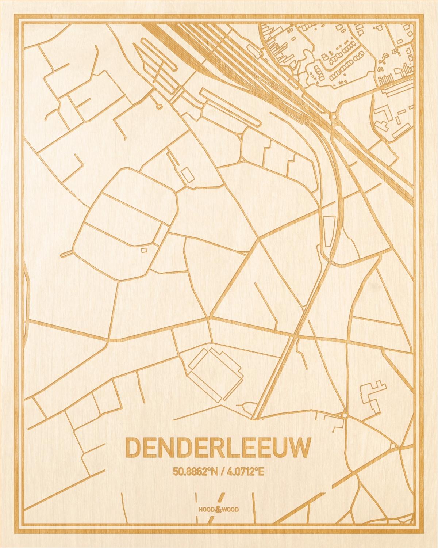 Het wegennet van de plattegrond Denderleeuw gegraveerd in hout. Het resultaat is een prachtige houten kaart van een van de beste plekken uit Oost-Vlaanderen  voor aan je muur als decoratie.