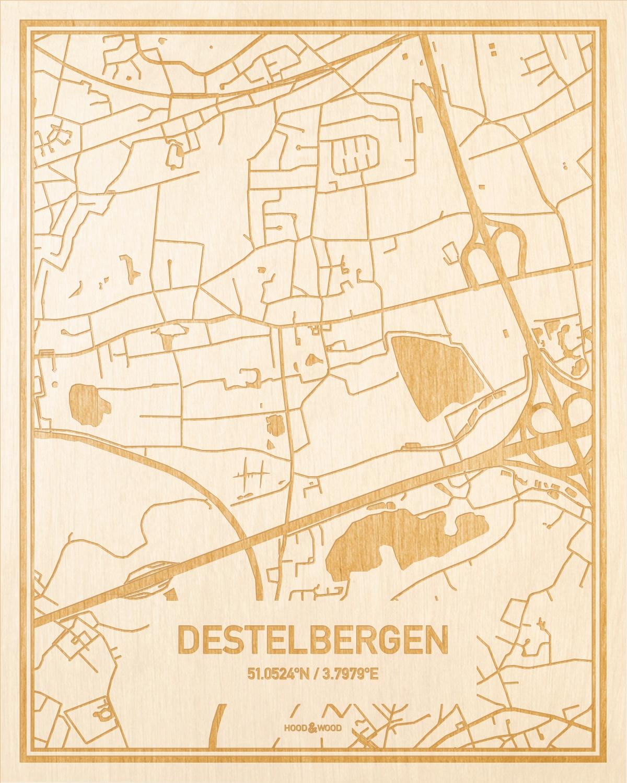 Het wegennet van de plattegrond Destelbergen gegraveerd in hout. Het resultaat is een prachtige houten kaart van een van de beste plekken uit Oost-Vlaanderen  voor aan je muur als decoratie.