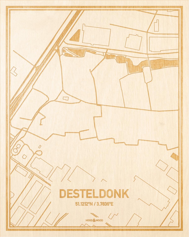 Het wegennet van de plattegrond Desteldonk gegraveerd in hout. Het resultaat is een prachtige houten kaart van een van de gezelligste plekken uit Oost-Vlaanderen  voor aan je muur als decoratie.
