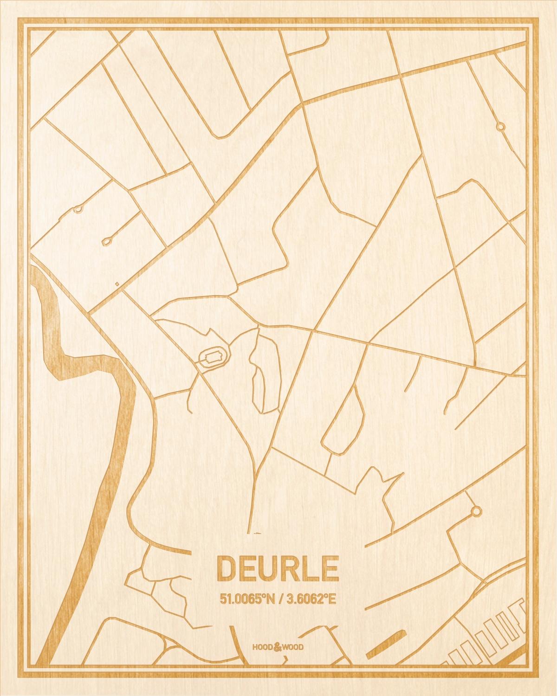 Het wegennet van de plattegrond Deurle gegraveerd in hout. Het resultaat is een prachtige houten kaart van een van de leukste plekken uit Oost-Vlaanderen  voor aan je muur als decoratie.