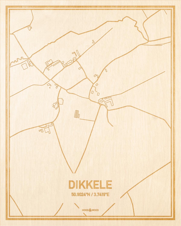 Het wegennet van de plattegrond Dikkele gegraveerd in hout. Het resultaat is een prachtige houten kaart van een van de leukste plekken uit Oost-Vlaanderen  voor aan je muur als decoratie.