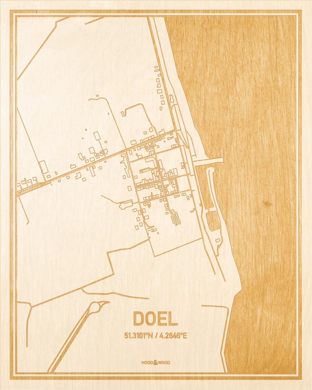 Het wegennet van de plattegrond Doel gegraveerd in hout. Het resultaat is een prachtige houten kaart van een van de charmantse plekken uit Oost-Vlaanderen  voor aan je muur als decoratie.