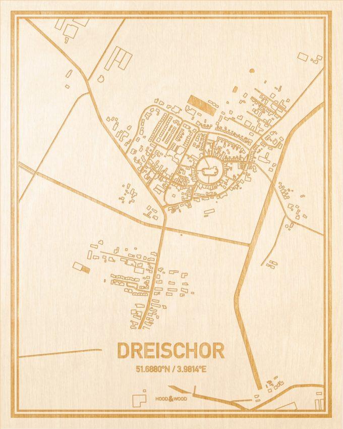 Het wegennet van de plattegrond Dreischor gegraveerd in hout. Het resultaat is een prachtige houten kaart van een van de charmantse plekken uit Zeeland voor aan je muur als decoratie.