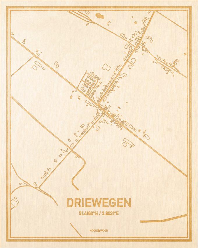Het wegennet van de plattegrond Driewegen gegraveerd in hout. Het resultaat is een prachtige houten kaart van een van de beste plekken uit Zeeland voor aan je muur als decoratie.