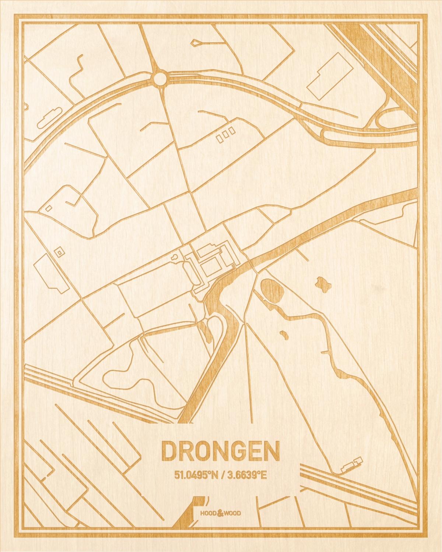 Het wegennet van de plattegrond Drongen gegraveerd in hout. Het resultaat is een prachtige houten kaart van een van de gezelligste plekken uit Oost-Vlaanderen  voor aan je muur als decoratie.