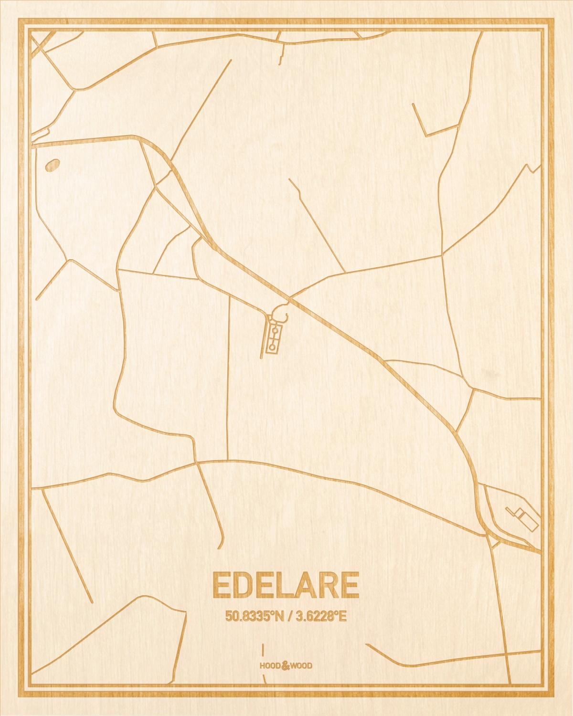 Het wegennet van de plattegrond Edelare gegraveerd in hout. Het resultaat is een prachtige houten kaart van een van de gezelligste plekken uit Oost-Vlaanderen  voor aan je muur als decoratie.