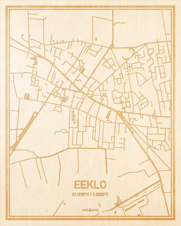 Het wegennet van de plattegrond Eeklo gegraveerd in hout. Het resultaat is een prachtige houten kaart van een van de beste plekken uit Oost-Vlaanderen  voor aan je muur als decoratie.